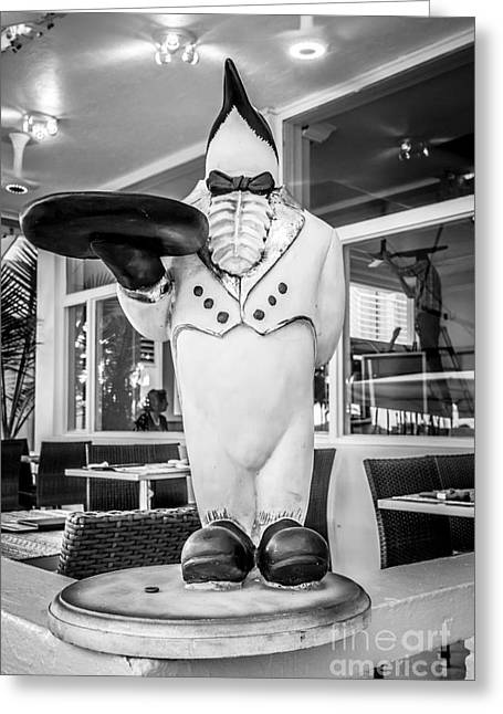 1930s Greeting Cards - Art Deco Penguin Waiter South Beach Miami - Black and White Greeting Card by Ian Monk