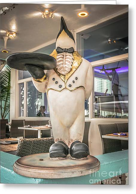 1930s Greeting Cards - Art Deco Penguin Waiter South Beach Miami - HDR Style Greeting Card by Ian Monk