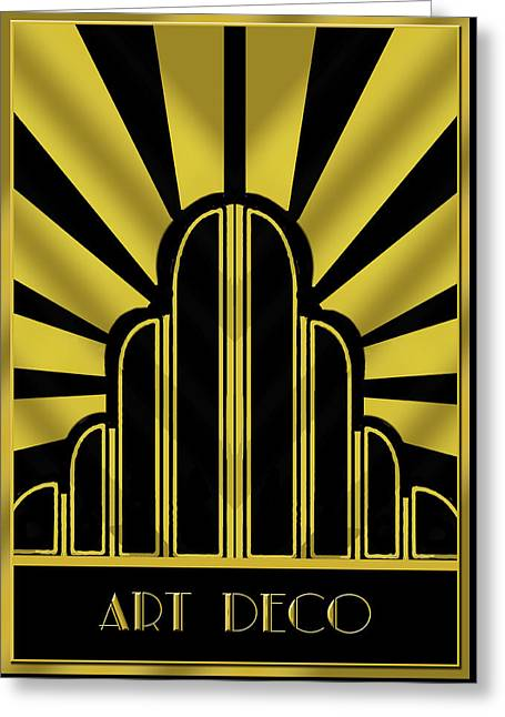 Staley Art Greeting Cards - Art Deco Poster - Title Greeting Card by Chuck Staley