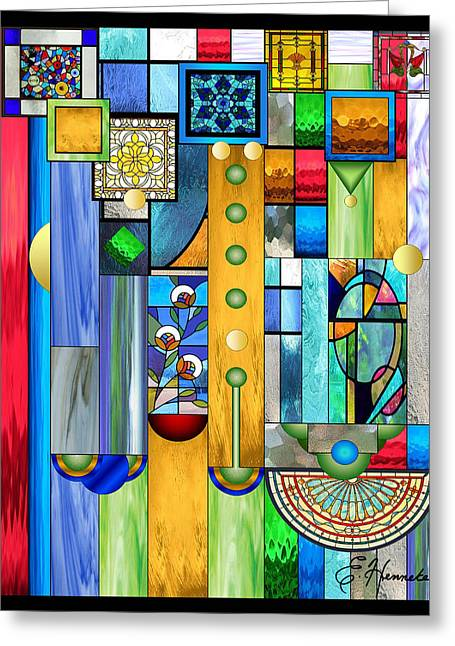 Best Sellers -  - Geometric Digital Art Greeting Cards - Art Deco Stained Glass 1 Greeting Card by Ellen Henneke