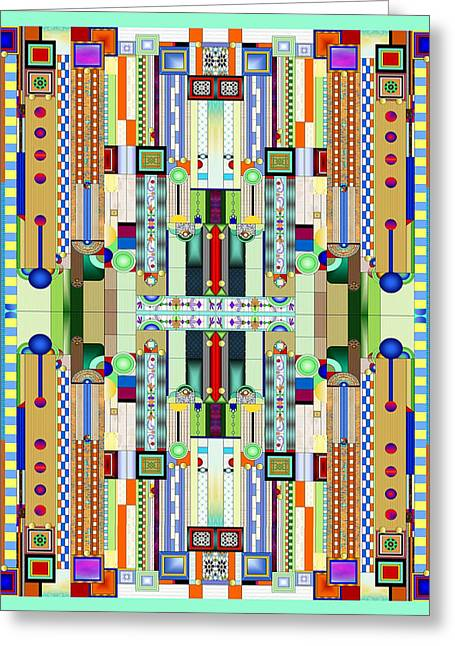 Frank Lloyd Wright Greeting Cards - Art Deco Stained Glass 2 Greeting Card by Ellen Henneke