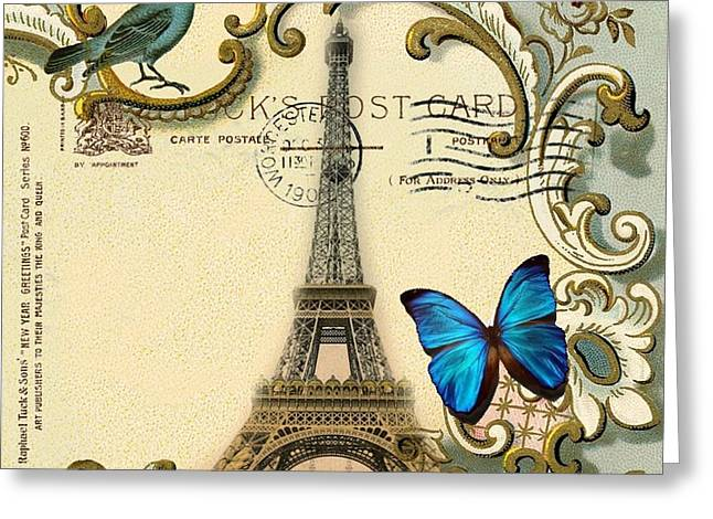 Fantasy Realistic Still Life Greeting Cards - Art Deco swirls butterfly Eiffel Tower Paris Greeting Card by Cranberry Sky