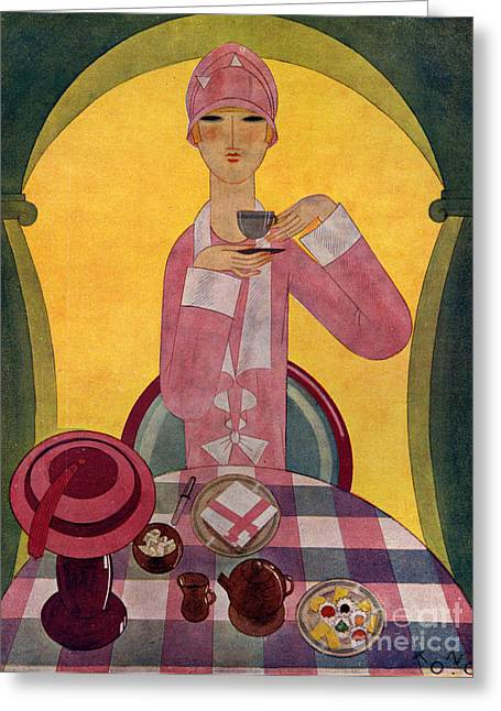 Twentieth Century Drawings Greeting Cards - Art Deco Tea Drinking 1926 1920s Spain Greeting Card by The Advertising Archives