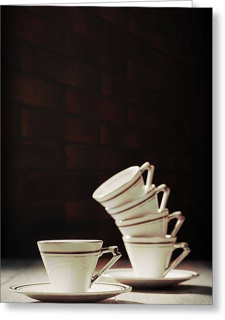 Stacks Greeting Cards - Art Deco Teacups Greeting Card by Amanda And Christopher Elwell