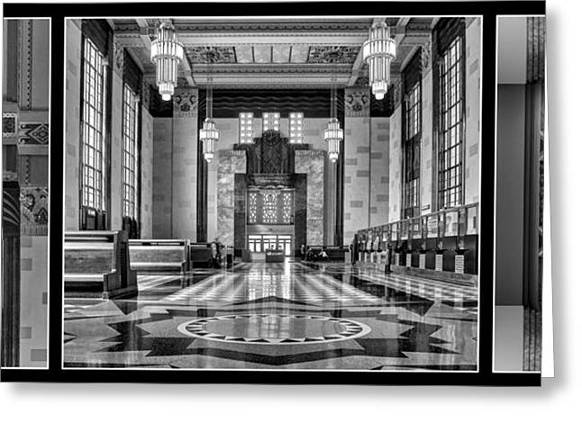 Union Station Lobby Greeting Cards - Art Deco Triptych #1 - bw Greeting Card by Nikolyn McDonald