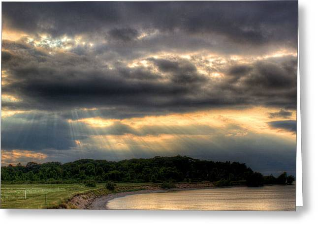 Art For Crohn's Lake Ontario Sun Beams Greeting Card by Tim Buisman