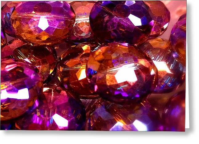 Art Glass Project-9 Faceted Heliotrope Lead Crystal Beads Greeting Card by Susan Maxwell Schmidt