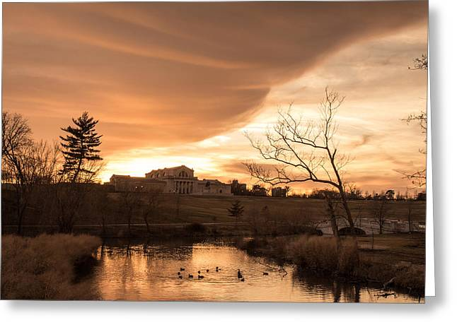 Sunset Posters Greeting Cards - Art Hill Winter Sunset Greeting Card by Scott Rackers