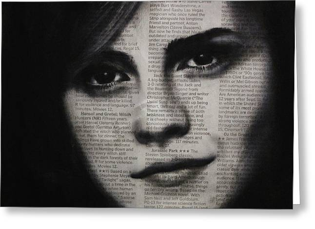 Art In The News 17-emma Watson Greeting Card by Michael Cross