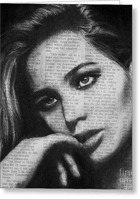 Michael Cross Greeting Cards - Art in the News 36- Jennifer Lawrence Greeting Card by Michael Cross