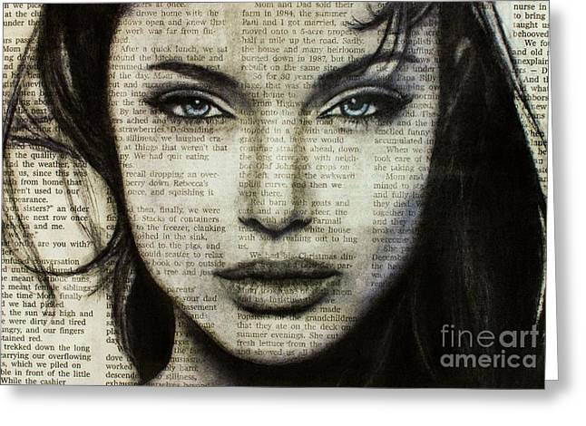 Michael Cross Greeting Cards - Art in the news 44- Angelina Jolie Greeting Card by Michael Cross