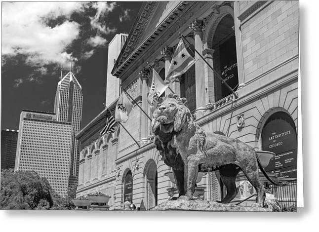 Institute Greeting Cards - Art Institute in Chicago Black and White Greeting Card by Christopher Arndt