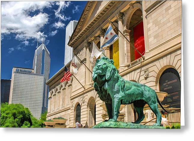 Recently Sold -  - Lions Greeting Cards - Art Institute in Chicago Greeting Card by Christopher Arndt