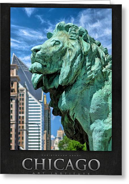 Institute Greeting Cards - Art Institute in Chicago Lion Poster Greeting Card by Christopher Arndt