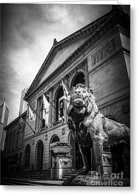 Institute Greeting Cards - Art Institute of Chicago Lion Statue in Black and White Greeting Card by Paul Velgos