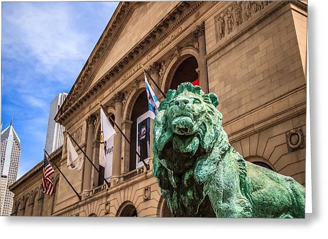 Art Institute of Chicago Lion Statue Greeting Card by Paul Velgos