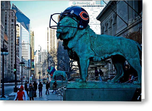 Earmuffs Greeting Cards - Art Institute of Chicago Lions Greeting Card by Anthony Doudt