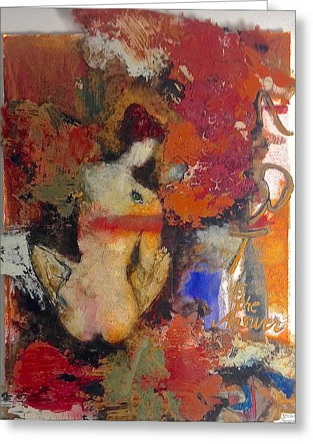 Posters Of Women Mixed Media Greeting Cards - Art is the answer Greeting Card by Delona Seserman