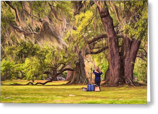 Lessons Digital Greeting Cards - Art Lesson in CIty Park New Orleans  Greeting Card by Steve Harrington