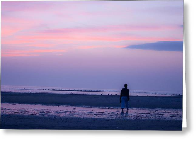 Pensive Greeting Cards - Art Line - Walking Into the Sunset Greeting Card by Michael Brewer