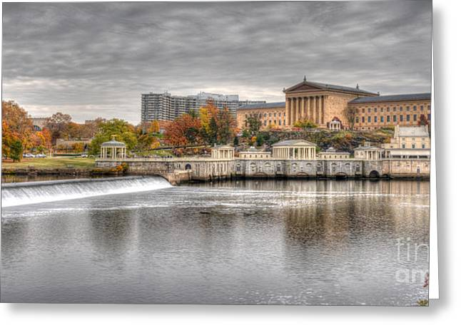 Williams Dam Photographs Greeting Cards - Art Museum Across the Schuylkill Greeting Card by Mark Ayzenberg