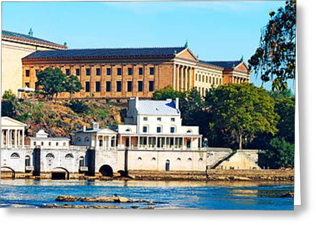 Philadelphia Museum Of Art Greeting Cards - Art Museum At The Waterfront Greeting Card by Panoramic Images