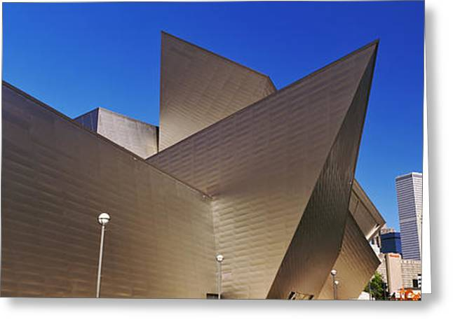 Geometric Art Greeting Cards - Art Museum In A City, Denver Art Greeting Card by Panoramic Images