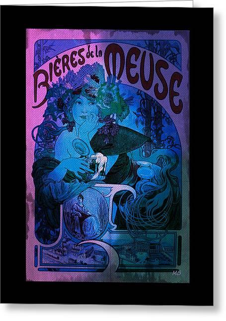 Gypsy Greeting Cards - Art Nouveau - Bieres de la Meuse Greeting Card by Absinthe Art By Michelle LeAnn Scott