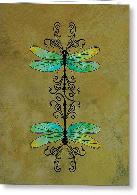 Dragonflies Greeting Cards - Art Nouveau Damselflies Greeting Card by Jenny Armitage