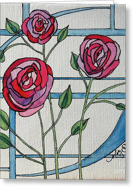Geometric Image Greeting Cards - Art Nouveau Roses Greeting Card by Mary Benke