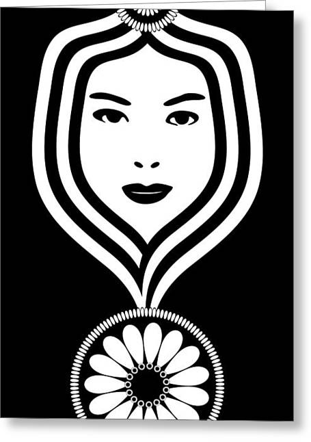 Female Faces Greeting Cards - Art Nouveau Woman Greeting Card by Frank Tschakert