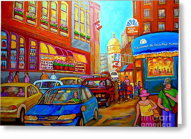Verdun Restaurants Greeting Cards - Art Of Montreal Summer Street Scenes Of Quebec With Caleche Near Cafes On Cobblestones Old Montreal Greeting Card by Carole Spandau