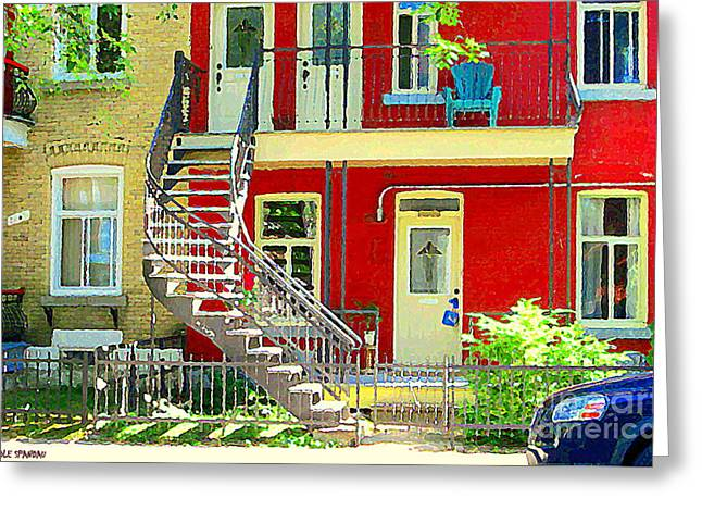 Montreal Memories Greeting Cards - Art Of Montreal Upstairs Porch With Summer Chair Red Triplex In Verdun City Scene C Spandau Greeting Card by Carole Spandau