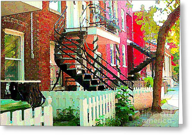 Art Of Verdun Greeting Cards - Art Of Montreal White Picket Fence In Verdun Summer Street Scenes Staircases Porches Carole Spandau Greeting Card by Carole Spandau