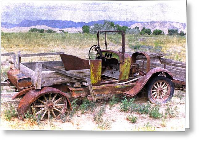 Pastimes Greeting Cards - Art of the Old West  Model T Greeting Card by Janice Rae Pariza