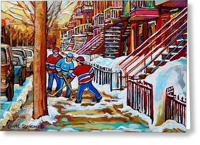Art Of Verdun Staircases Montreal Street Hockey Game City Scenes By Carole Spandau Greeting Card by Carole Spandau