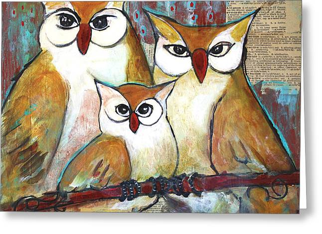 Cute Owl Greeting Cards - Art Owl Family Portrait Greeting Card by Blenda Studio
