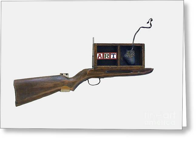 Junk Sculptures Greeting Cards - ART Rifle Greeting Card by Bill  Thomson