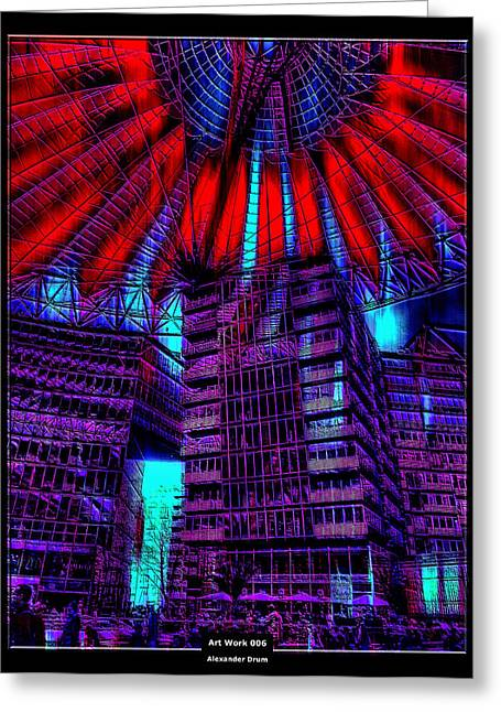 Night Cafe Mixed Media Greeting Cards - Art Work 006 Sony Center Berlin Greeting Card by Alexander Drum