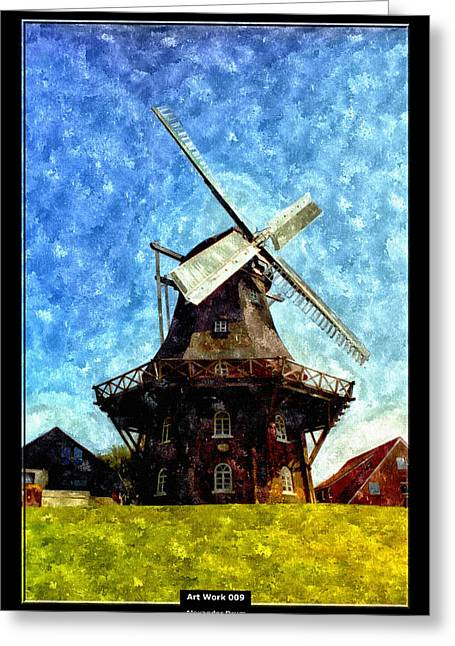 Mill Printing Greeting Cards - Art Work 009 gallery dutch mill Greeting Card by Alexander Drum