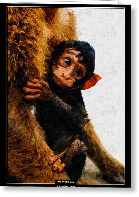 Love The Animal Greeting Cards - Art Work 012 Baby Monkey Greeting Card by Alexander Drum