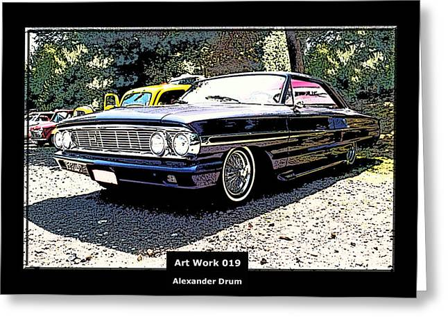 Purple V8 Greeting Cards - Art Work 019 Ford Galaxy  Greeting Card by Alexander Drum