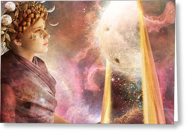 Goddess Birth Art Greeting Cards - Artemis Parting the Veil Greeting Card by Sonya Shannon