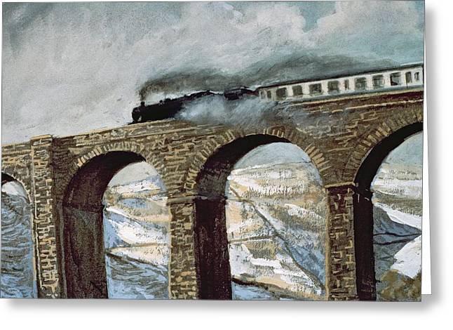Train Bridge Greeting Cards - Arten Gill Viaduct Gouache Detail Greeting Card by John Cooke