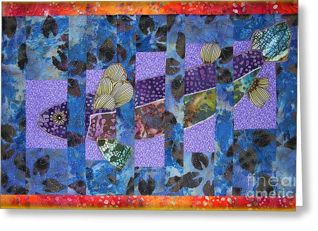 Rainbow Trout Tapestries - Textiles Greeting Cards - Artful Trout Greeting Card by Ruta Naujokiene