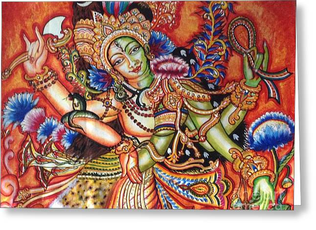 Kami A Paintings Greeting Cards - Arthanareeshwara Greeting Card by Kami A