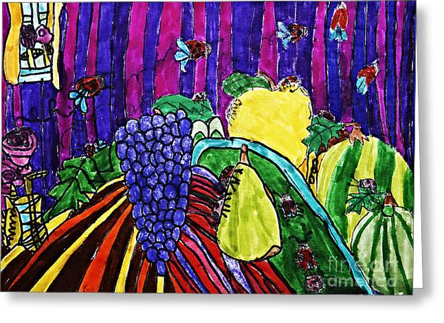 Blue Grapes Drawings Greeting Cards - Arthropod Intrusion Greeting Card by Stephanie Ward