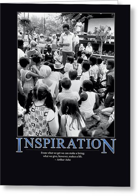 Arthur Ashe Greeting Cards - Arthur Ashe Inspiration  Greeting Card by Retro Images Archive
