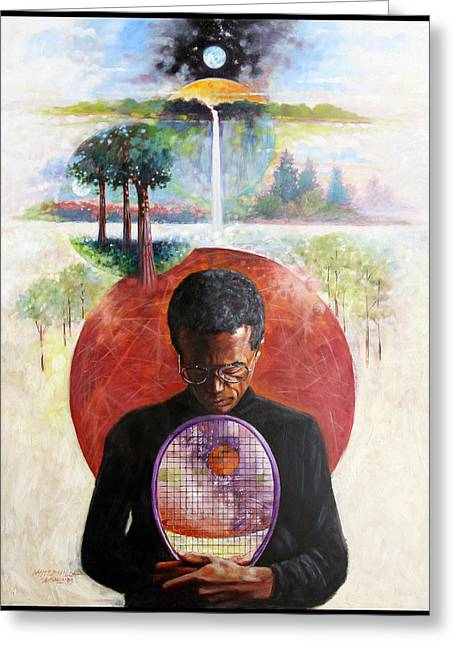 Tennis Player Paintings Greeting Cards - Arthur Ashe Greeting Card by John Lautermilch