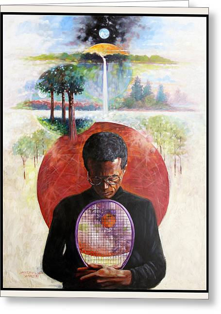 Arthur Ashe Greeting Card by John Lautermilch